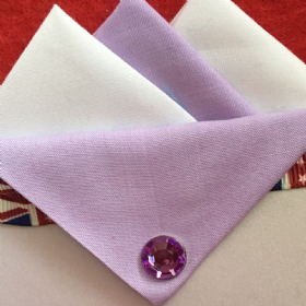 White and Lilac Hankie With Lilac Flap and Pin